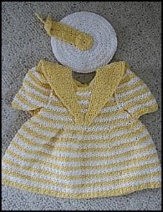 Sailor Dress with Matching Hat Baby Dress - Crochet Sizes 12-24mths | YouCanMakeThis.com