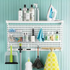 White elfa utility Laundry & Cleaning Center | Spring Organization SALE
