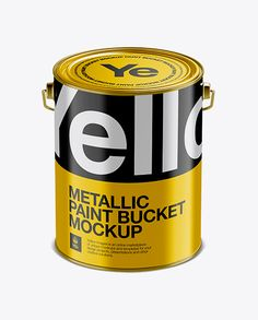 5L Metallic Paint Bucket Mockup – Front View (High-Angle Shot)
