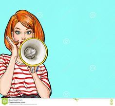 Amazed Pop art girl in glasses with megaphone saying something. Woman with loudspeaker. Advertising poster with lady announcing discount or sale. - Buy this stock illustration and explore similar illustrations at Adobe Stock Fashion Show Poster, Fashion Show Party, Vintage Advertising Posters, Vintage Advertisements, Fond Pop Art, Illustration Pop Art, Pop Art Vintage, Pop Art Background, Birthday Background