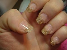 Grey and Gold French Manicure