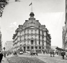 "New York circa 1905. ""City Hall Post Office."" Designed by Alfred Mullett, completed in 1880 and demolished in 1939, the building was derided as ""Mullett's Monstrosity"" by its numerous critics.....I think it was gorgeous!"