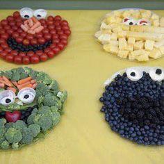 Sesame Street Fruit Platters. fun healthy idea for kids party