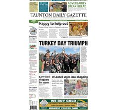 The front page of the Taunton Daily Gazette for Friday, Nov. 28, 2014.
