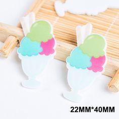 50pcs/lot 22*40MM Ice Cream Ball Flatback Resin Planar Delicious Dessert Resins DIY Craft For Home Decoration Accessories FR-15