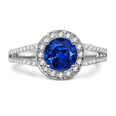 Round Sapphire and Diamond Split Shank Ring in 14k White Gold:# Angara
