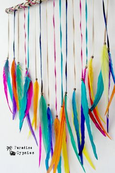 Rainbow Dreamer Wall Hanging Full Feather by ParadiseGypsies www.paradise-gypsies.com @paradisegypsies