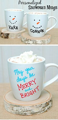 Personalized Snowman Mugs | Click Pic for 22 DIY Christmas Gifts for Kids to Make | Handmade Christmas Gifts for Boys