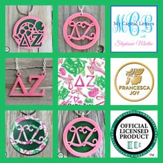 DELTA ZETA acrylic jewelry, keychains, and more, including a new Francesca Joy DZ pattern at My Capital Letters with Stephanie Martin - stephaniemartin.mycapitalletters.com