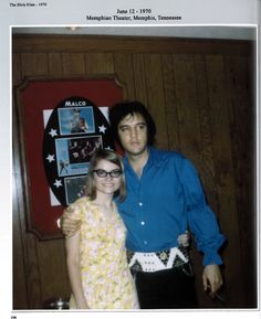 "Elvis photographed with a fan at the Memphian Theater in Memphis, TN on Friday, June 12, 1970. Source: ""The Elvis Files Vol. 5: 1969 - 1970"" by Erik Lorentzen. See more: http://www.elvisinfonet.com/book_elvis_files_vol.5.html"