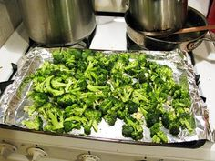 Put a few Tbsp of olive oil in a ziploc with some salt and pepper and the broccoli and shake. Then spread on a cookie sheet and spread minced garlic over it and roast at 425 deg F for 20-25 minutes.