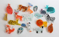 acrylic painted on transparent shrink plastic - All things bright and beautiful