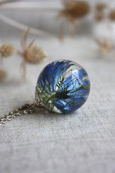 Nigella epoxy resin. Terrarium pendant. love-in-a-mist pendant.Nigella pendant…