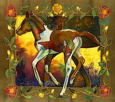 silk painting of a horse