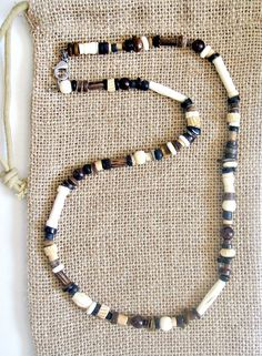 Men's Garnet Bone Beaded Necklace