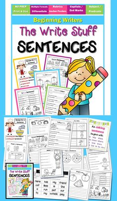NO PREP printables to support lessons on writing complete sentences. Over 40 pages along with posters.