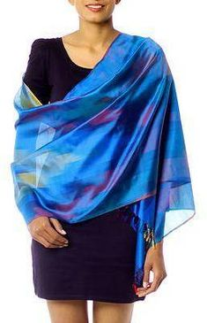 Blue Whisper Modern Blue Varanasi Silk Shawl. Shawl fashions. I'm an affiliate marketer. When you click on a link or buy from the retailer, I earn a commission.