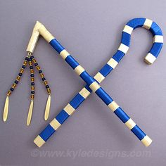 Egyptian Crook and Flail set.   Example: King Tut Crook and Flail, $39.95