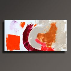 ABSTRACT PAINTING White Orange Magenta Gray Brown by itarts