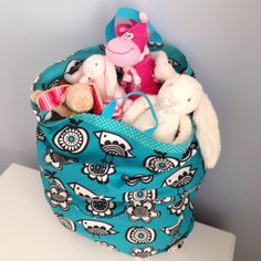 Handmade Extendible Toy Bag Clothkits Material by SewSoPretty14, £20.00