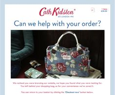 Abandoned basket #emails: creative vs. best practice? A recovery email from SaleCycle, cart recovery experts, for Cath Kidston.