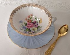 Rare Shelley Blue Oleander Tea Cup & Saucer by TheEclecticAvenue