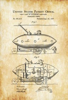 Patent print poster of a Submarine Vessel invented and designed by Simon Lake. The patent was issued by the United States Patent Office on April Patent prints allow you to have a piece… Wall Art Prints, Poster Prints, Posters, Gifts For Sailors, Patent Drawing, Patent Prints, Submarines, Chalkboard Art, Large Prints