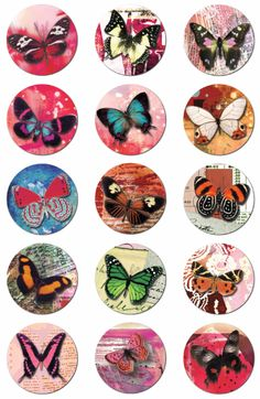 """Click to download the 2 inch circle butterfly collage sheet  Terms + Conditions of use: You can use anything you download from 'arts crafts and me' in your personal projects w/out any attribution. 1.  Don't redistribute, repackage, post for download, or sell """"as is"""" anything downloaded on this website. 2.  Don't link directly to any of my downloads on this site.  Please link to the post/page in my website that contains the free download."""