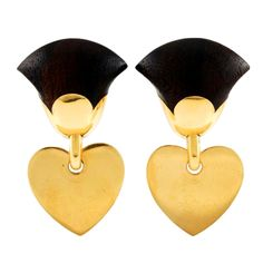 VAN CLEEF & ARPELS Wood Gold Heart Earrings  France  1970's  Beautiful 18kt yellow gold and wood dangle earrings by Van Cleef & Arpels.