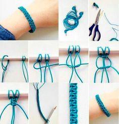 Comment fabriquer un bracelet macramé en scoubidou ? Macrame Bracelet Diy, Bracelet Fil, Bracelet Crafts, Bracelet Making, Jewelry Crafts, Handmade Jewelry, Jewelry Making, Macrame Knots, Macrame Earrings