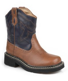 Brown & Navy Stitch Little Cowboy Boots Women's shoes boots booties fall winter 2013 2014 13 14 stiefel stiefeletten lace up platform plateau black flat loafers 90's revival metal heel leather dark red bordeaux deichmann graceland 5th avenue halle berry stacked heel buckled chelsea