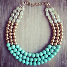 Mint Gold and Crystal Statement Necklace by icravejewels on Etsy, $58.00