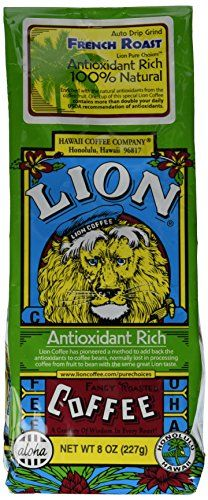 LION Award Winning Antioxidant Rich Coffee, French Roast, Medium Roast, Ground, 8oz ** You can get more details here: at I need Coffee.