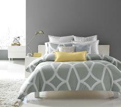 chambre contemporaine en gris et jaune