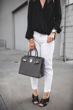 Chic at Every Age // Cut Out Top http://styleofsam.com/2017/04/14/cut-out-top/ black cutout top with white distressed jeans and etaine grey hermes birkin 30, outfit details, casual outfit idea
