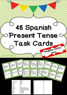 48 engaging and versatile task cards to get your students up and moving AND give them a well-rounded review of the present tense. These include regular AR/ER/IR verbs.