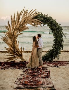 Beach Wedding in Tulum Mexico with pampas grass and greenery backdrop. Aisle lined with boho rugs. Beach Wedding in Tulum Mexico with pampas grass and greenery backdrop. Aisle lined with boho rugs. Wedding Ceremony Backdrop, Beach Ceremony, Ceremony Arch, Wedding Arches, Wedding Backdrops, Wedding Greenery, Marquee Wedding, Wedding Ceremonies, Wedding Receptions
