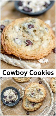 This is the BEST EVER Cowboy Cookies recipe! It's an easy cookie recipe that combines chocolate chips, and oatmeal for a chocolaty, chewy, cookie that everyone loves. It's also the first cookie recipe that I made into a cookie in a jar recipe! Easy Cookie Recipes, Brownie Recipes, Dessert Recipes, Easy Cookie Recipe For Cookie Exchange, Cookie Ideas, Recipes Dinner, Pasta Recipes, Crockpot Recipes, Soup Recipes