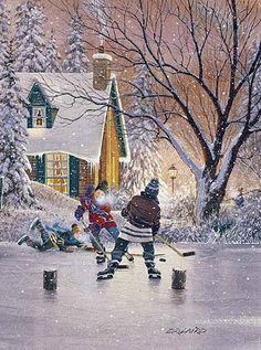 Laird Canadian artist paintings of children playing hockey, city scapes, landscapes, still lifes.