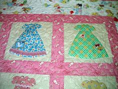 Freda's Hive: Let's Play House Dress Quilt.  Notice the little extras added to the dresses