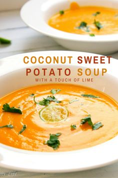 Coconut Sweet Potato Soup with a Touch of Lime- silky smooth and warm you to your toes! @livlifetoo