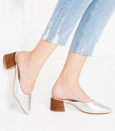 Zara Leather Slides With Block Heel