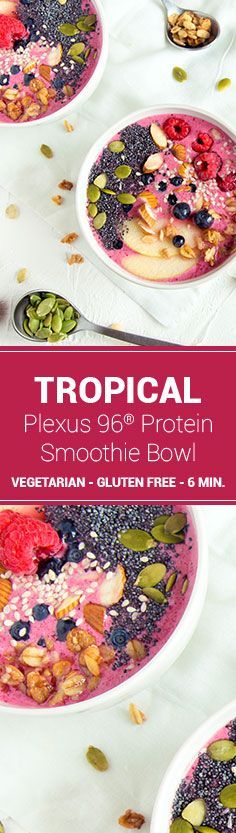 Berries, mango, granola, and Plexus 96® Vanilla. Mix them together and what do you have? The Plexus 96® Tropical Protein Smoothie Bowl—a tropical paradise getaway at your own kitchen table.