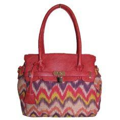 Melie Bianco Layla Lock Satchel Handbag (Red),$69.95
