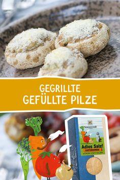 """So einfach und so lecker! Ein besonderer Genuss auf jeder Grillparty! Mit unserer """"Adios Salz"""" Würzmischung ist die Geschmacksexplosion vorprogrammiert! #adiossalz #sonnentor #grillen #vegetarisch #vegetarischgrillen #bbq #grillparty #veggie #gemüse #rezept #rezepte #rezeptidee #pilze  #champignons Bbq, Cereal, Breakfast, Food, Grilled Mushrooms, Vegetarian Grilling, Grill Party, Browning, Salt"""