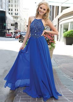 2015 Royal Flowy Halter Neck Beaded Low Back Prom Dress