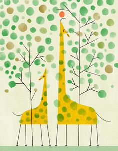 Cotton Giraffe Rag, mama grabs the last apple for baby - limited edition giclée print by Joyce Hesselberth