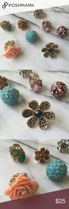 Set of Statement Rings Set of statement rings. Most are Betsy Johnson and the rest are from a boutique. Fits size 8/9 and some have a stretch to it. Betsey Johnson Jewelry Rings