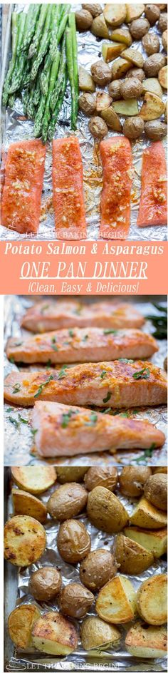 Cooking Ideas: Potato Salmon Asparagus One Pan Dinner : Clean easy and delicious way to make dinner all in one pan with no previous prep. #Salmon #Asparagus #Potatoes #One_Pan #Healthy #Easy