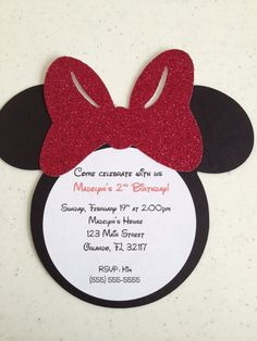 Sooo cute!! Handmade Minnie Mouse Invitations